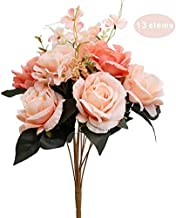 UNIQOOO Artificial Rose Silk Flowers Bouquet, Realistic Fake Flower Bunch, Perfect for Bridal Bouquets,Wedding Centerpieces Arrangement, Floral Home Decoration,Table Decor, Photography Props