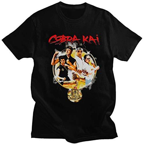 Vintage Cobra Kai Mens T Shirt Cotton The Karate Kid Series Tshirt Short Sleeved Strike First Strike Hard 80S Movie Graphic Tee-Black,S