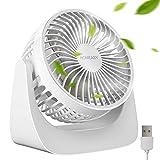 homeasy USB Lüfter Leise Kabellose 360°Drehventilator Kabelloses Mini USB Fan mit 3 Geschwindigkeiten für Zuhause und Büro USB Tischventilator