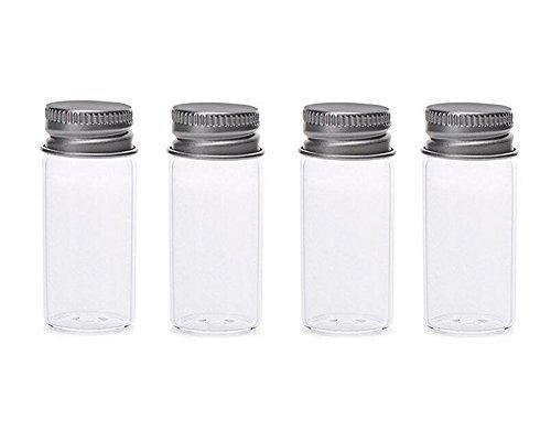 12 pcs 15 ml rechargeables bouteilles en verre avec bouchon à vis en aluminium – Support pour récipient de stockage Portable Maquillage Émollient Eau Gel douche Émulsion Organiseur (Transparent)