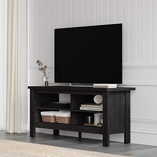 Farmhouse Wood TV Stand for TV's up to 55' Flat Screen Living Room Storage Shelves Entertainment Center, 43 Inch, Black