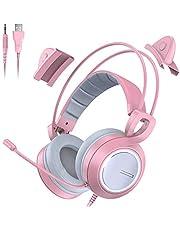Bengoo ゲーミングヘッドセット 猫耳ヘッドホン ps4 ヘッドセット ゲーミングヘッドホン マイク付き LEDライト付き ライブ用 3.5mm端子 プレゼント 可愛い 女の子向き ピンク PS4/Nintendo/Xbox One/PCに対応