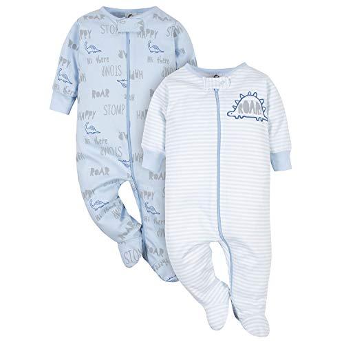 Gerber Baby Boys Pacote com 2 unidades de pijama orgânico, Grey Dino, 6-9 Months