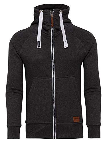 Yazubi Herren Sweatjacke Jacob - dunkel graue Sweatshirt mit Reißverschluss - Anthrazit Kapuzenpullover Männer, Grau (Moonless Night 194203), L
