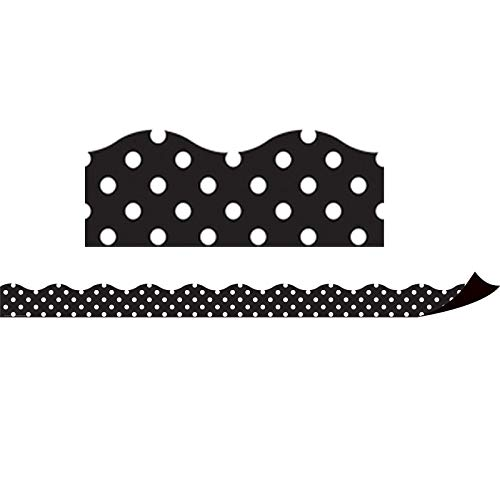 Teacher Created Resources Black Polka Dots Magnetic Border (77124)