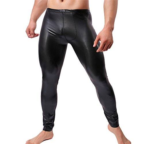 Herren Leder Hosen Wetlook Tight Pants Männer Schwarz Leggings Lange Hose (XL)