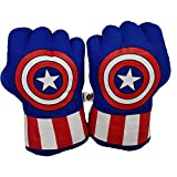 TIANLE U/C Kids Spiderman Boxing Gloves Smash Hands Fists Iron Man Captain America Cosplay Soft Plush Boxing Training Gloves Toy Gift,Thanos-A