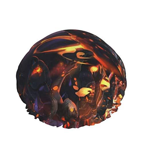 Kabaneri Of The Iron Fortress Gorro de ducha de doble capa, gorros de baño elásticos impermeables reutilizables para todas las longitudes de cabello