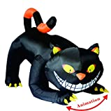 GOOSH 6 FT Halloween Inflatables Outdoor Black Cat with Fangs, Blow Up Yard Decoration Clearance with LED Lights Built-in for Holiday/Party/Yard/Garden