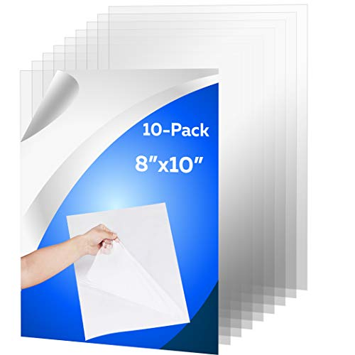 """10 Pack of 8x10"""" PET Sheet/Plexiglass Panels 0.03"""" Thick; Use for Crafting Projects, Picture Frames, Cricut Cutting and More; Protective Film to Ensure Scratch and Damage Free Sheets"""