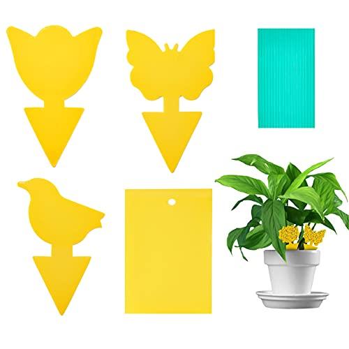 50pcs Fliegenfalle Gelbsticker, Gelbtafeln Trauermücken Bekämpfen, Fruchtfliegenfalle perfekt bekämpfen Blattläuse, Thripse, weiße Fliegen für Blumenerde Zimmerpflanzen zu Hause oder auf dem Balkon