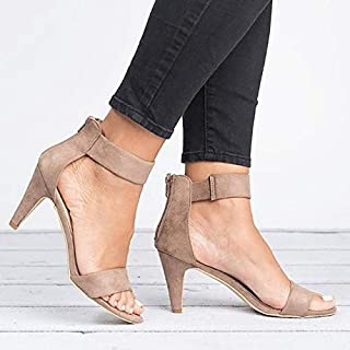 Summer Women's High Heel Sandals Open Toe Summer Shoes With 5CM High Heels Sandals Ankle Strap Woman Simple elegant sandals and slippers (Color : Khaki, Shoe Size : 41)