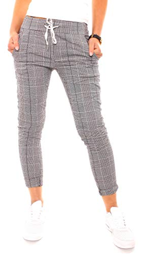 Easy Young Fashion Damen Hose Joggpants Baumwolle Kariert Stretch Stoffhose Jogger Pants 7/8 Lang mit Glencheck Muster Schwarz-Weiß One Size