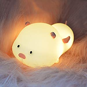 Pet Piggy Touch Sensor Switching LED Night Lamp, Pat LED Baby Night Light, USB Rechargeable Breathing Magnetic Night Lamp, for Children Bedroom and Nursery (Angel Piggy Light)