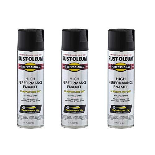 Rust-Oleum 7578838A3 Professional High Performance Enamel Spray Paint, 3 Pack, Flat Black, 3 Count