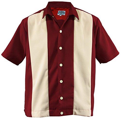 Bowling Shirt Worker Hemd Rockabilly Two Tone Gabardine Lounge 50er Vintage Retro Double Panel (XXL/Xtra-Large, Rot/Beige)