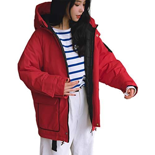 Eaylis Damen Winterjacke Wintermantel,Dicke Baumwolle Kapuze Baumwolle Gesteppte Kragen Warme Baumwolle Jacke Mantel Einfarbig