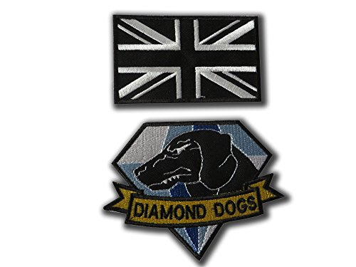 ONEKOOL - Juego de parches, diseo de perro de metal con diamantes (2 placas de hierro en las insignias)