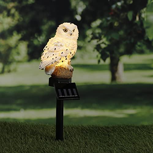 Kamaca Lámpara solar LED con forma de búho para jardín, poste de camino, lámpara de jardín, figura decorativa con luz solar, incluye estaca con sensor crepuscular (búho solar)