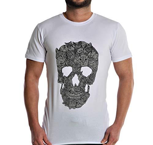 ArmoLine Camiseta de manga corta con diseño de calavera para hombre
