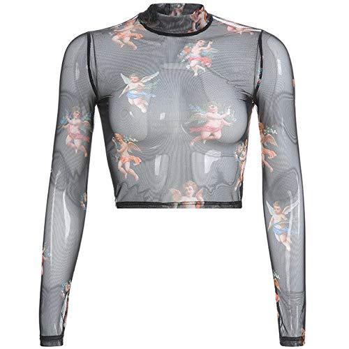 ADSIKOOJF Vrouwen Doorzichtig Sheer Mesh T-Shirt Crop Top Leuke Engel Gedrukt Vrouwelijke Coltrui Lange Mouw Zomer Mesh Tops Tee