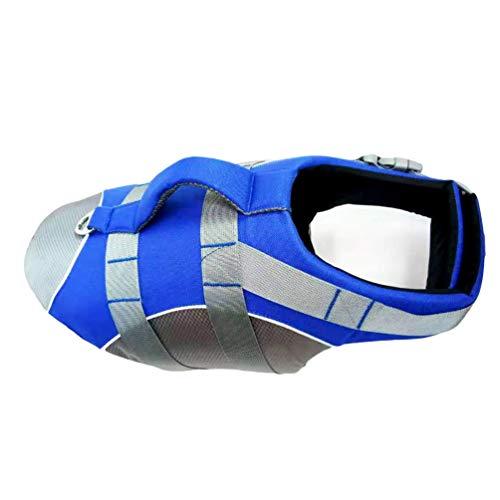 HZQIFEI Chaleco Salvavidas para Perro, Perros Seguridad Natación Ropa Chaleco Reflectante Mascota Flotación Ajustable (Azul, S)