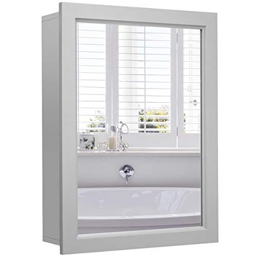 Tangkula Mirrored Bathroom Cabinet, Wall Mount Storage Organizer, Medicine Cabinet with Single -