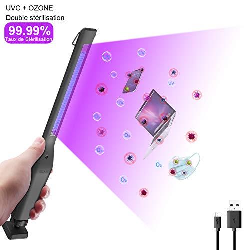 ELAW Lámpara de Desinfección UV, Esterilizador Portátil USB 254nm UVC+Ozone, Esterilización Eficiente 99.99%, Temporizador de 30Minutos, Desinfección, Desodorización y ácaros Multifunción.
