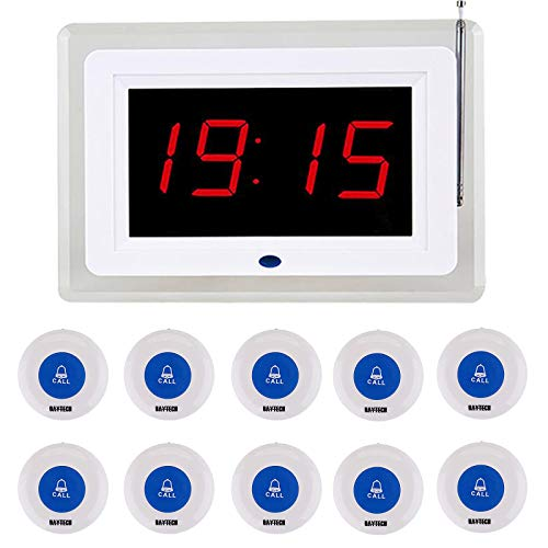 Daytech Calling System for Caregiver Pager/Medical Call Button/Restaurant Pager System for Elderly Patient/Paging System for Clinic Hospital Church 1 Display Receiver+10 Call Buttons