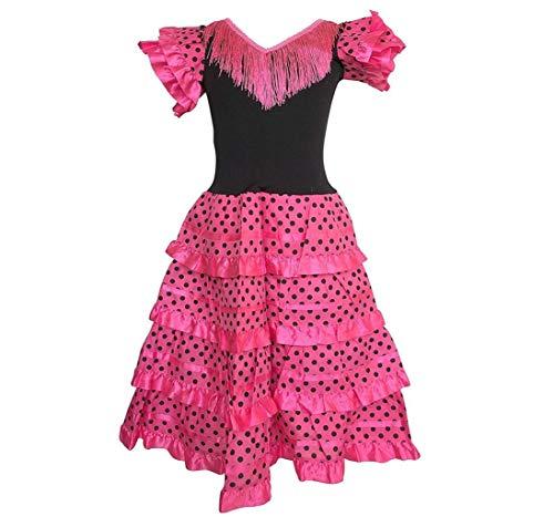 La Senorita Vestido Flamenco Español Traje de Flamenca Chica/niños Rosa Negro Talla 4, 92-98- 3/4 años