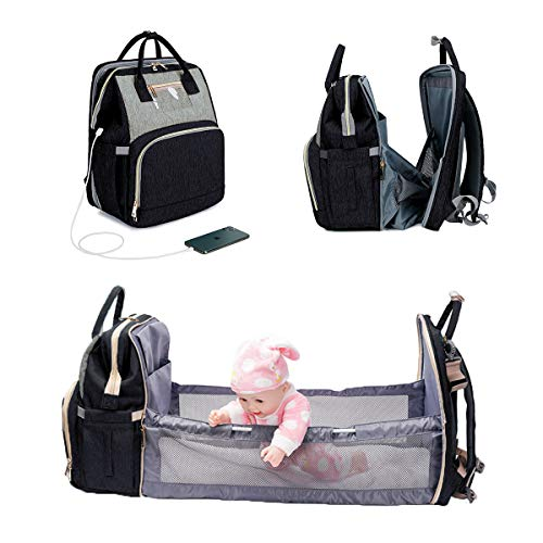 3 in 1 Diaper Bag Backpack Foldable Baby Bed Waterproof Travel Bag with USB Charge Baby Changing Bag (Black-gray)