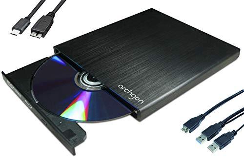 Archgon Star-C Externer HD BD Player, Blu-ray BDXL Brenner extern für PC Laptop USB 3.0 / -C, M-Disc, externes BluRay Laufwerk, External Optical BlueRay Drive extern, Alu Schwarz