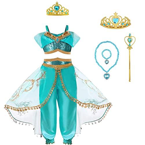CREDIBLE 子供 用 アラビアン プリンセス ドレス 豪華7点セット ( トップス , パンツ , ハートのティアラ