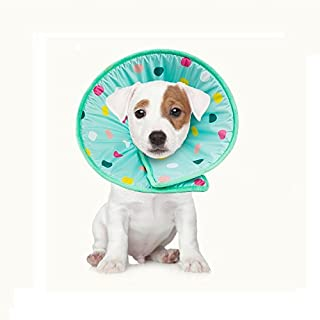 Stock Show 1Pc Pet Dog Recovery Elizabethan Collar, Colorful Dots Decor Wound Healing Protective Cone E-Collar for Puppy Cats, Light Blue