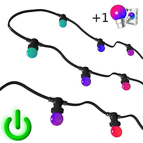 [Rêvenergie] Guirlande Guinguette RGB couleur changement automatique 10m 20 ampoules B22 chainable etanche (Multicolore)