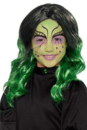 Smiffys 49120 kinderpruik, heks, meisjes, zwart en groen, eenheidsmaat
