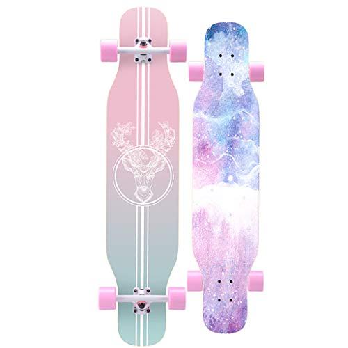 YQQ-MOTIUN Longboard Skateboard 42 dans Long X 8 Pouces Large Deck Maple Danse Longboard pour Adultes, Garçons/Filles/Jeunes Chargez Maximum 330 Livres, 7 Couches De Maple De Haute Qualité