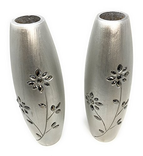 Link Products Perfect for displaying dried grasses and flowers. PAIR of 2 Silver wooden vases 30 cm tall
