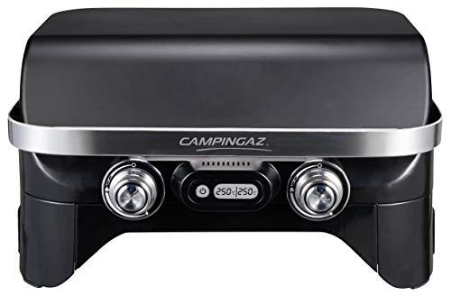 Campingaz Attitude 2100 EX - Barbacoa de gas portátil, 2 quemadores de acero, 5 kW de potencia, parrilla de gas para camping con tapa, termómetro digital y parrilla de hierro fundido