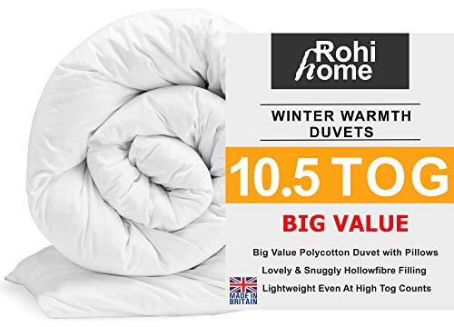 ROHI Basics Duvet & 2 Deluxe Pillows - Single, Double, King & Super King - 4.5/10.5/13.5/15 TOGS - MULTIPLE PACK OFFER!! BEST PRICE & QUALITY ON AMAZON!! (Soft Polycotton, 10.5 Tog Double Duvet & Pillow Pair (Spring))