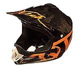 Qtech Niños Casco del Camino Motocross MX ATV BMX - Negro Mate NitroN S (52-53cm) - Naranja