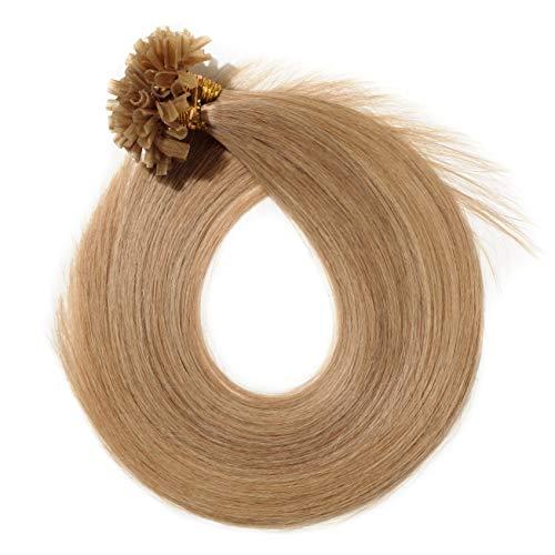 SEGO Pre Bonded U Tip Hair Extensions Human Hair 100 Strands Keratin Fushion Nail Tip Human Hair Extensions 100% Real Remy Hair Silky Straight #27 Dark Blonde 18 inches 50g