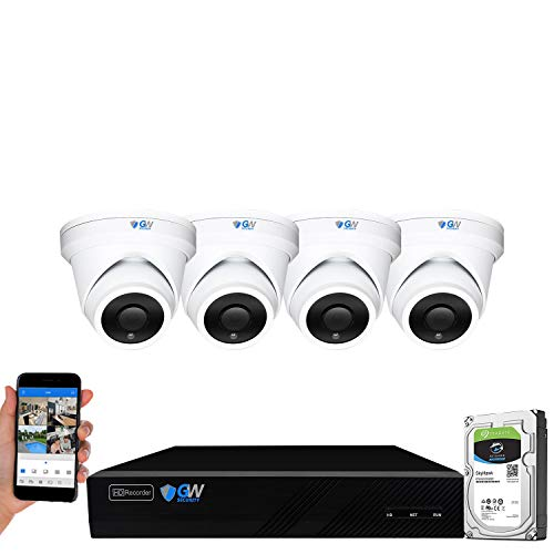 GW Security 8 Channel 4K NVR 6MP H.265 AI Human Detection Surveillance Security Camera System with 4...