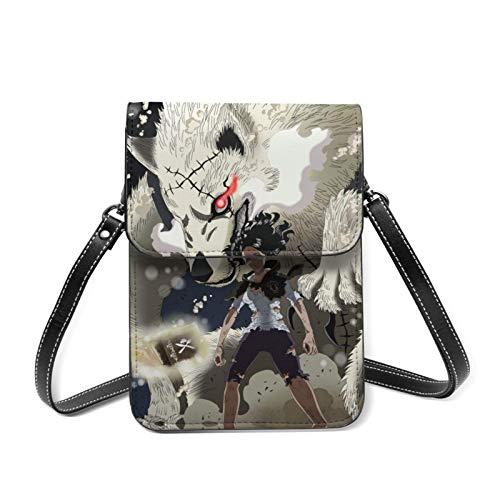 XCNGG Black Clover Anime Lightweight Leather Mobile Wallet, Small Messenger Bag, Mini Mobile Phone Bag, Shoulder Bag, Detachable Shoulder Strap, Suitable For Women