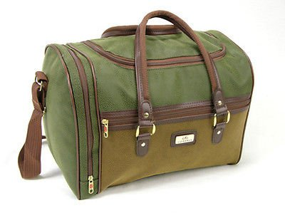 Wizzair Cabin Bag Hand Luggage fits in 42x32x25cm Massive 30 Litre Capacity (Green & Tan (Faux Suede))
