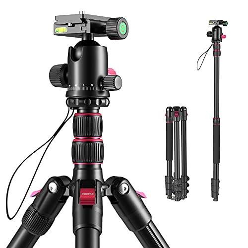 """ROXTAK 80"""" Camera Tripod & Monopods,Professional Compact Aluminum Travel Tripods for DSLR with 360 Degree Ball Head and 2 Quick Release Plates,Compatible for Canon,Nikon,Sony,Samsung,Olympus&Panasonic"""