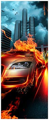 Wallario Acrylglasbild XXL Brennendes fahrendes Auto - 80 x 200 cm in Premium-Qualität: Brillante Farben, freischwebende Optik