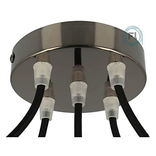 Flairlux Baldachin 5-fach schwarz metallic zur Montage von Pendelleuchten | Lampenbaldachin für alle Lampen geeignet | zur Lampenaufhängung an der Decke | Deckenrosette 120x25 mm inkl Klemmnippel