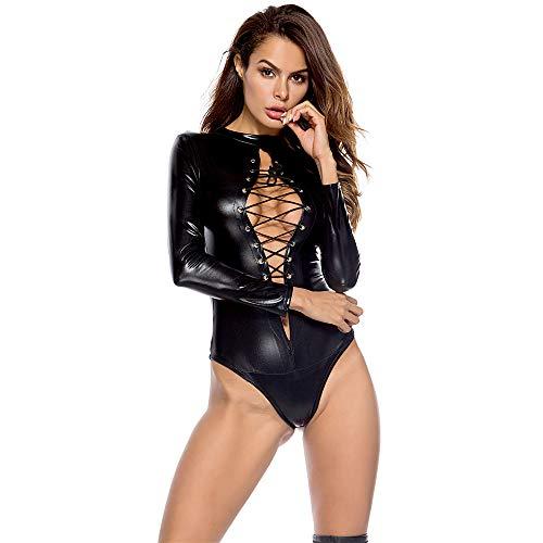 AMhomely Neue Sexy Frauen PU Leder Dessous Bodysuits Erotische Trikot Kostüme Gummi Flexible Hot Latex Catsuit Catwomen Kostüm (Black, M)
