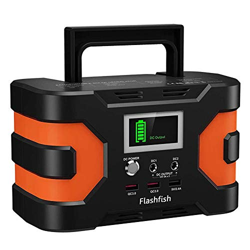 Portable Power Station, Flashfish 166Wh Camping Solar Generator Lithium Backup Battery Power Supply with 110V/150W AC Outlets, DC 12V Ports, USB QC3.0, for CPAP Outdoors Camping Hunting Emergency